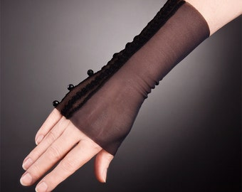 CUSTOM Versatile Black Lace Gloves with Beads,Short Black Gloves,Short Lace Gloves,Black lace gloves,Fingerless Lace gloves,lace gloves