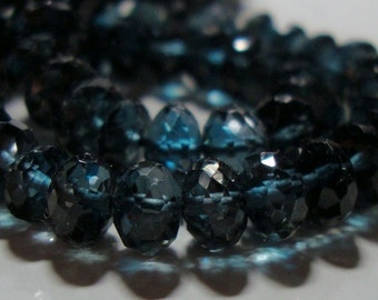 Genuine London Blue Topaz 3D Mirco Faceted Rondelle, 8.5x7mm, AAA, 2 Rondelle - Midnight Blue - J19-7 -wholesale 30% off