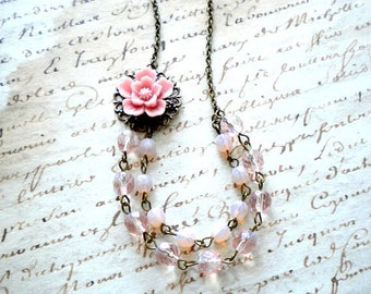 Pink Wedding Jewelry Pink Flower Necklace Pink Bridesmaid Necklace Bridal Necklace Pink Jewelry Pastel Bridesmaid Necklace Pastel Jewelry