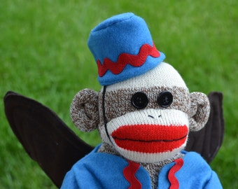 Flying Sock Monkey Doll,  Sock Monkey Wizard of Oz,  Winged Monkey, Emerald City, Oz