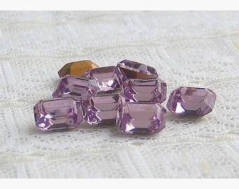 8x6mm Light Amethyst Octagon Swarovski Glass Rhinestones