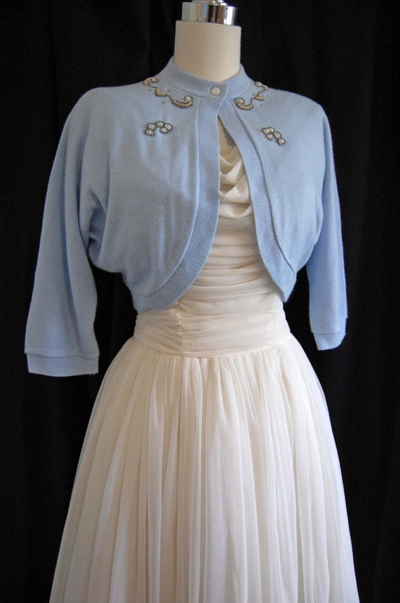 Vintage 50s light blue beaded sweater 1950s blue bolero for Sweater over wedding dress