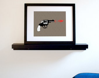 Hunting Season - Gun with Bird Bullet Art Print - Free Shipping in US