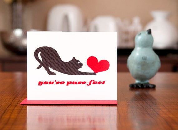 You're Purr-fect - Cat with Heart I Love You Card on 100% Recycled Paper