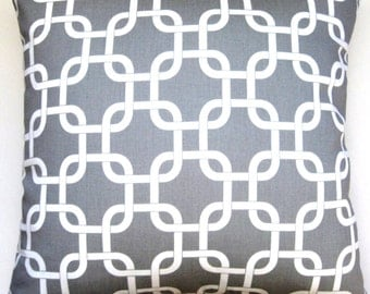 Gray and White Pillow Cover - Geometric Modern Pillow  - 18 inch Square  -  Decorative Pillow