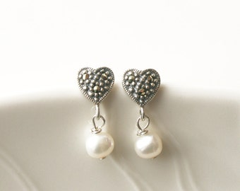 Pearl Earrings, Valentines Day, Heart Shaped Earring