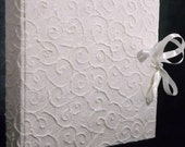 Embossed white cotton paper photo album spirals theme sateen ribbon for wedding marriage original gift scrapbook guest book made in Italy