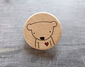 bear love // hand-drawn wooden brooch // a tiny valentine's day gift by mimiandlu - mimiandlu