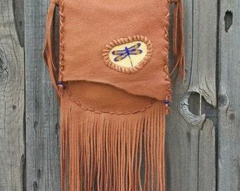 Crossbody dragonfly purse , Fringed leather handbag , Beaded dragonfly totem , Custom leather handbag