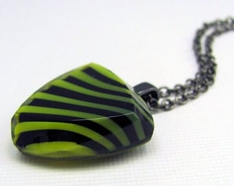 Green & Black Striped Necklace in Gunmetal - Vintage Glass Necklace, Abstract, Bold, Stripes, Limited Edition, Unisex