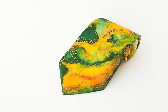 Yellow green necktie Handpainted silk tie Wedding tie Anniversary gifts for men Abstract tie Tie for men