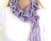 Hand knitted scarf with frill and tassels one of a kind  purple scarflette