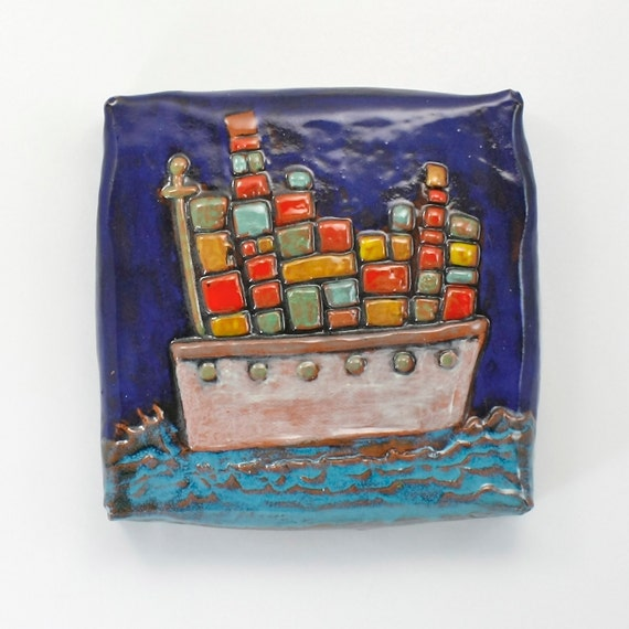 """Wall Art: Barge Cargo Ship """"Stuck on the Wall"""" a ceramic wall tile 6-inch square multi-colored cobalt, turquoise, in stock"""