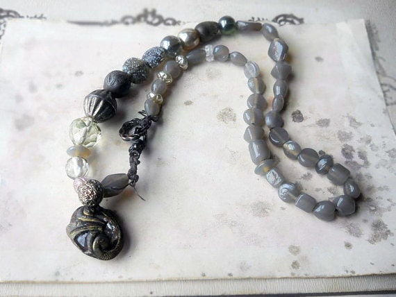 25 DOLLAR SALE || Beaded Necklace - Grey Glass, Metal, Crystal, Sugar Glass, Brown Cord - Assemblage Pendant - Rustic Necklace