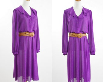 Vintage Sheer Purple Dress -- 70s Ruffle Long Sleeve Shirtwaist Dress -- Large XL