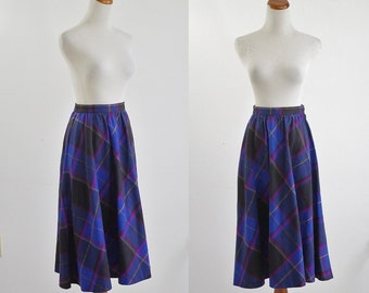 Vintage Plaid Skirt, 70s Skirt, Wool Skirt, Plaid Skirt, 1970s Wool Skirt, Cobalt Blue Black Pink Yellow, Office Wear Prep  Medium Waist 28