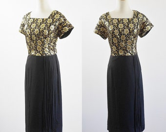 Vintage 50s Dress, 1950s Metallic Brocade Dress, Black Chiffon Dress, Cocktail Dress, Short Sleeve Dress, Square Neck, XL Plus Size Bust 46