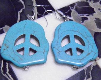 Turquoise Earrings, Sterling Silver and Turquoise Peace Sign Earrings, Deadhead Grateful Dead Jewelry, Hippie Earrings, Hippy Jewelry, OOAK