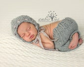 Little Knit Textured Bonnet and Pant Set, Beautiful Photography Prop for Newborn Baby, Choose Your Color