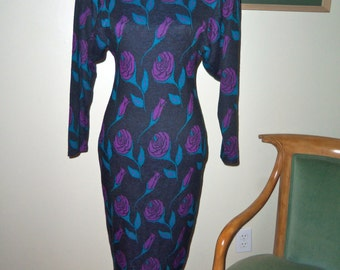 80s ALL THAT JAZZ--Knit Dress with Purple Roses--Fishtail Hem--Body Con--Sweater Girl