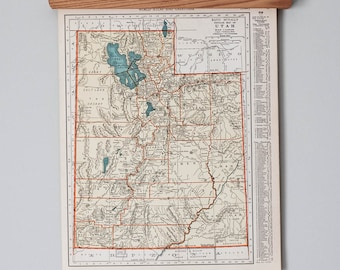 1930s Antique State Maps of Utah and Vermont