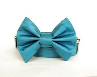 Satin Wedding Bow Tie Dog Collar - Turquoise