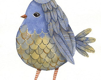Watercolor  BIRDS No.46 - Limited Painting by Lorisworld -  Print Limited edition (8 x 10 inches)