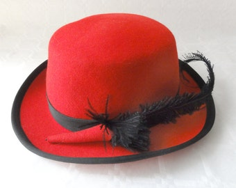 Vintage Red Felt Hat With Feather Small