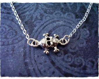 Tiny Sideways Skull Necklace - Sterling Silver Skull Charm on a Delicate Sterling Silver Cable Chain or Charm Only