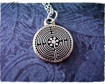 Silver Labyrinth Necklace - Silver Pewter Labyrinth Charm on a Delicate Silver Plated Cable Chain or Charm Only