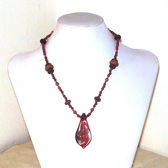 Lampwork & Stone Necklace - Red Jasper and Orange Turquoise, with Glass by Taylor Kelly