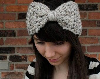 CROCHET PATTERN - Bow Ear Warmer Headband - Crochet Ear Warmer Pattern - Easy Beginner Patterns