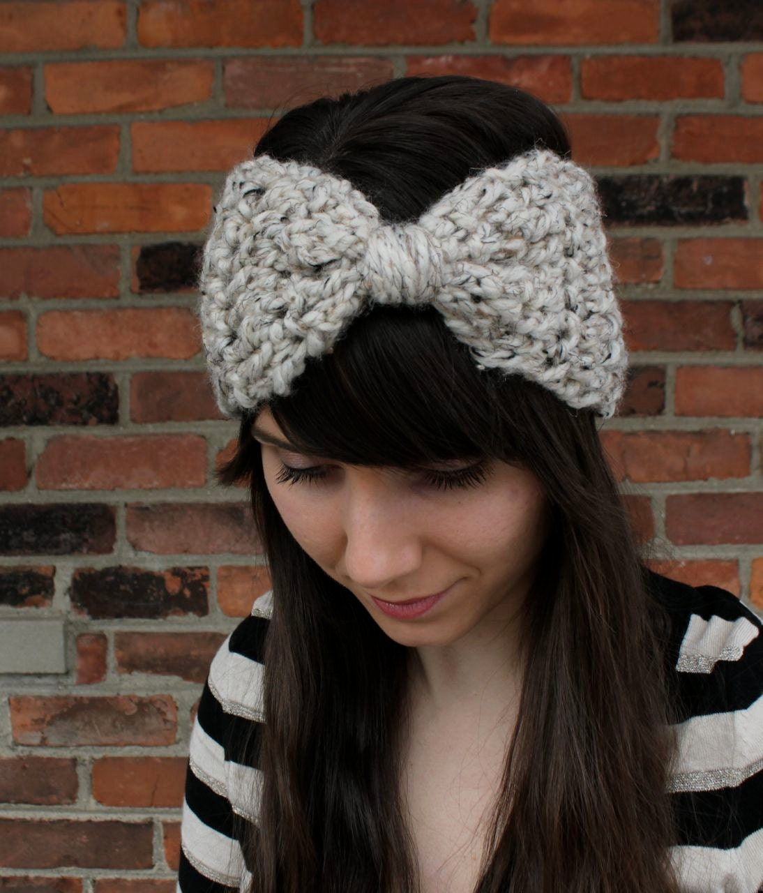Free Crochet Pattern Headband Ear Warmer Button : CROCHET PATTERN Bow Ear Warmer Headband Crochet Ear Warmer