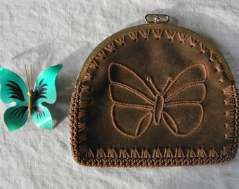 MOD Mid Century Boho Butterfly Hand Made Needlework & Leather Bag
