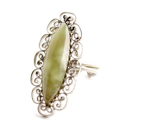 Vintage Filigree Jadeite Ring - Statement Silver Tone Semi Precious Stone Costume Jewelry / Light Green Marquise