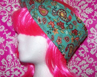 Paisley - Blue Green - Red - Headband - Tie back - Thick - 4 inches Wide - Rosie the Riveter