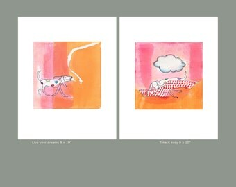 Children's wall art, gift for kids, wall decor for kids, Set of 2 prints, dog prints, orange pink nursery room decor