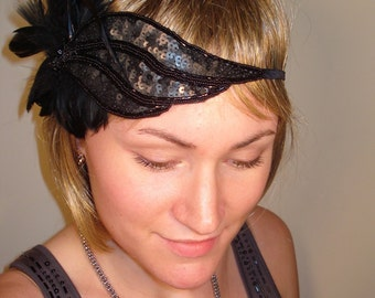 Black sequin 1920's inspired flapper headband