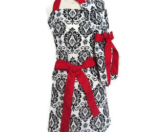 Matching Mommy and Me Retro Apron Set, Mother Daughter Damask aprons with Red Ties, Women Children toddlers Aprons, Mother's Day gift, cute