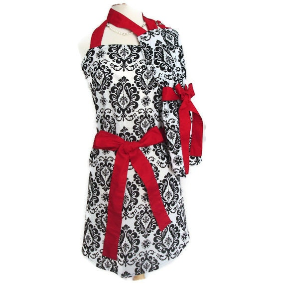 Mommy and Me Retro Apron Set - Mother Daughter Vintage Inspired Damask aprons with Red Ties - Women and Children's Aprons