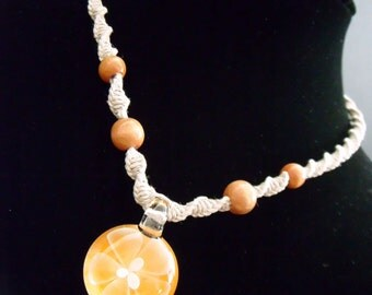 Orange Bloom Series Beaded Hemp Necklace on White Waxed Hemp Indie Hemp artisan designer couture high fashion chakra jewelry eco friendly