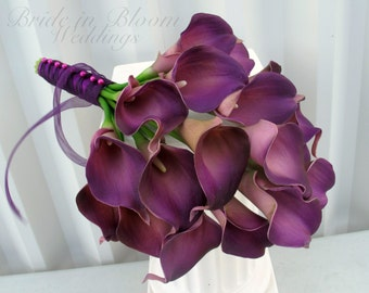 Calla lily Wedding bouquets, plum purple real touch Bridal bouquet