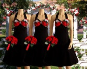 Two-Tone Skull and Roses Bridesmaid Dresses