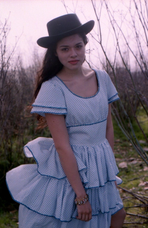 SALE Vintage Blue Polka Dot Ruffle Cowgirl Squaredance Dress S-M