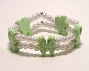 Butterfly and Pearl Bracelet Available in 7 Colors