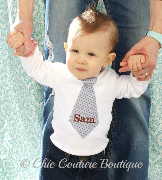 Gift for New Baby Boy,  Personalized Tie Onesie.  Any Tie, Any Size, Any Name or Monogram Embroidered.  Blue Brown Polka Dot, Coming Home