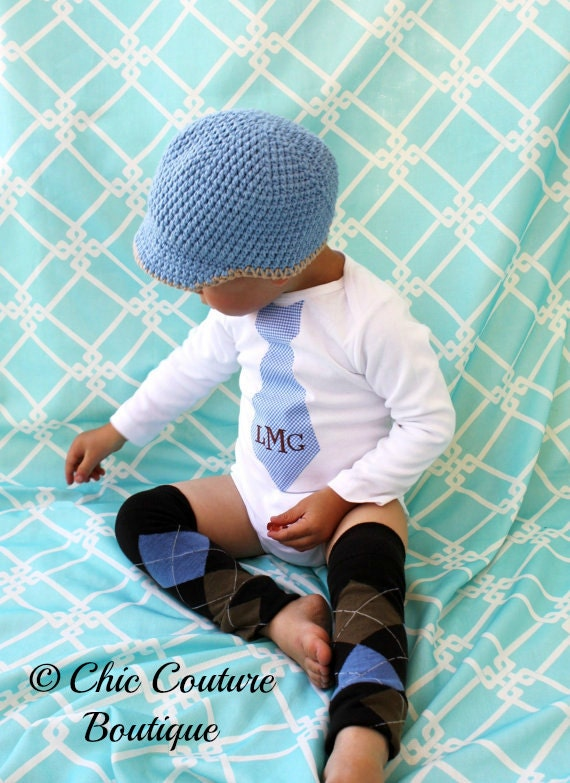 Children's Clothing Father's Day Tie Baby Boy Plaid Monogrammed Personalized Tie Bodysuit & Leg Warmers SET. Blue Brown Gingham Argyle