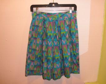 80s geometric print high waist skort shorts 1980s surfer crazy printed cotton high waisted bermuda shorts size small