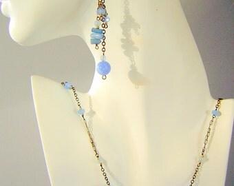 Vintage Artglass Pendant & Earrings SET - Bubbly Blue Tsunami / Delicate Sea Fairy Hand Made