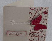 Thank You Card for Wedding and Engagement, Butterfly Swirly, Made to Order --Set of 10